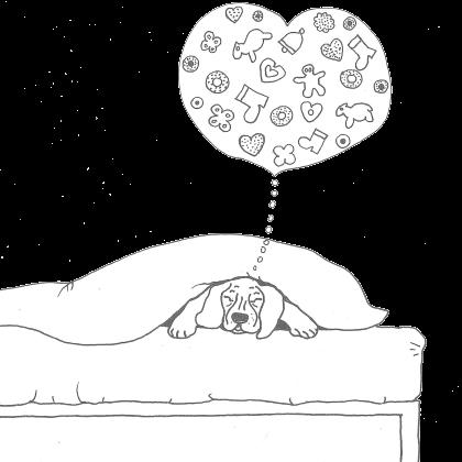Zeichnung Muck im Bett