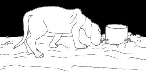 Zeichnung Muck schnuppert am Topf