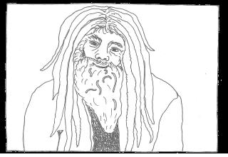 Zeichnung Mann mit Spaghetti im Bart