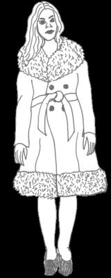Zeichnung Frau im Mantel