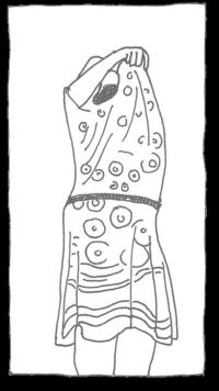 Zeichnung Frau zieht Kleid aus