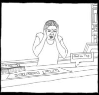 Zeichnung entsetzte Kassiererin